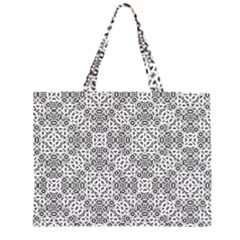Black And White Oriental Ornate Zipper Large Tote Bag by dflcprints