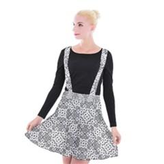 Black And White Oriental Ornate Suspender Skater Skirt by dflcprints