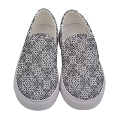 Black And White Oriental Ornate Women s Canvas Slip Ons
