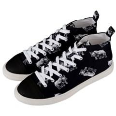 Rhino Pattern Men s Mid Top Canvas Sneakers by Valentinaart