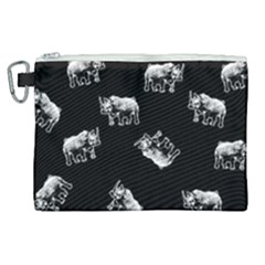 Rhino Pattern Canvas Cosmetic Bag (xl) by Valentinaart