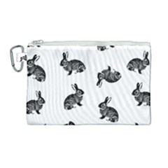 Rabbit Pattern Canvas Cosmetic Bag (large) by Valentinaart