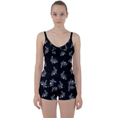 Rabbit Pattern Tie Front Two Piece Tankini