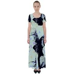 Mint Wall High Waist Short Sleeve Maxi Dress
