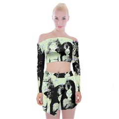 Mint Wall Off Shoulder Top with Mini Skirt Set