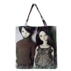 Dolls In The Grass Grocery Tote Bag by snowwhitegirl