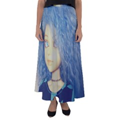 Blue Hair Boy Flared Maxi Skirt by snowwhitegirl