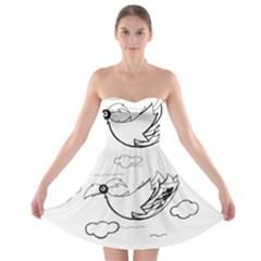 Bird Strapless Bra Top Dress