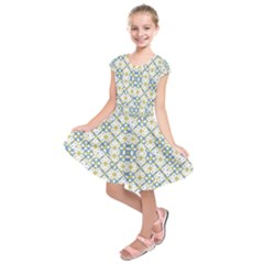 Vivid Check Geometric Pattern Kids  Short Sleeve Dress