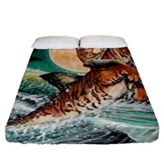 Tiger Shark Fitted Sheet (queen Size) by redmaidenart