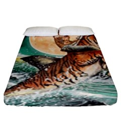 Tiger Shark Fitted Sheet (king Size) by redmaidenart