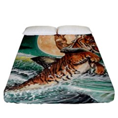 Tiger Shark Fitted Sheet (california King Size) by redmaidenart