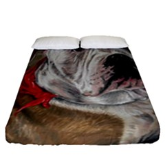 Dog Portrait Fitted Sheet (queen Size) by redmaidenart