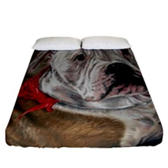 Dog Portrait Fitted Sheet (california King Size) by redmaidenart