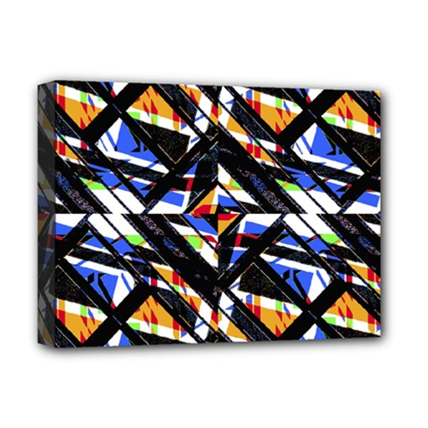 Multicolor Geometric Abstract Pattern Deluxe Canvas 16  X 12   by dflcprints