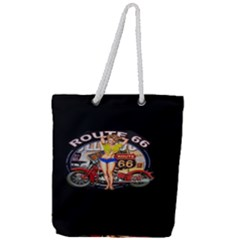 Route 66 Full Print Rope Handle Tote (large) by ArtworkByPatrick