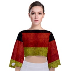 Football World Cup Tie Back Butterfly Sleeve Chiffon Top
