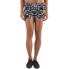 Black And White Abstract Texture Yoga Shorts