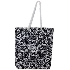 Black And White Abstract Texture Full Print Rope Handle Tote (large)