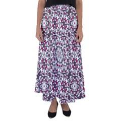 Boho Bold Vibrant Ornate Pattern Flared Maxi Skirt