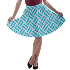 Woven2 White Marble & Turquoise Colored Pencil (r) A Line Skater Skirt