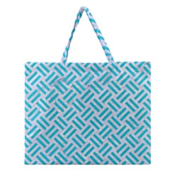Woven2 White Marble & Turquoise Colored Pencil (r) Zipper Large Tote Bag by trendistuff