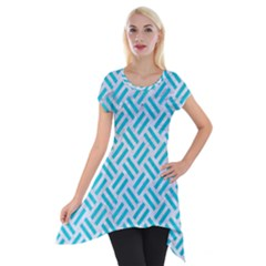 Woven2 White Marble & Turquoise Colored Pencil (r) Short Sleeve Side Drop Tunic by trendistuff