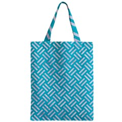 Woven2 White Marble & Turquoise Colored Pencil Zipper Classic Tote Bag by trendistuff