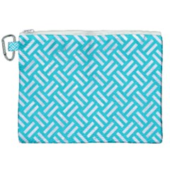 Woven2 White Marble & Turquoise Colored Pencil Canvas Cosmetic Bag (xxl) by trendistuff