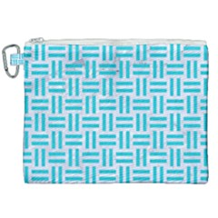 Woven1 White Marble & Turquoise Colored Pencil (r) Canvas Cosmetic Bag (xxl) by trendistuff