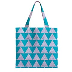Triangle2 White Marble & Turquoise Colored Pencil Zipper Grocery Tote Bag by trendistuff
