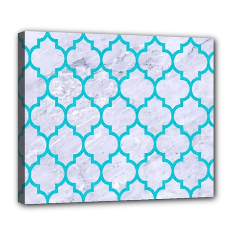 Tile1 White Marble & Turquoise Colored Pencil (r) Deluxe Canvas 24  X 20   by trendistuff