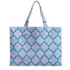 Tile1 White Marble & Turquoise Colored Pencil (r) Zipper Mini Tote Bag by trendistuff