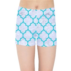 Tile1 White Marble & Turquoise Colored Pencil (r) Kids Sports Shorts
