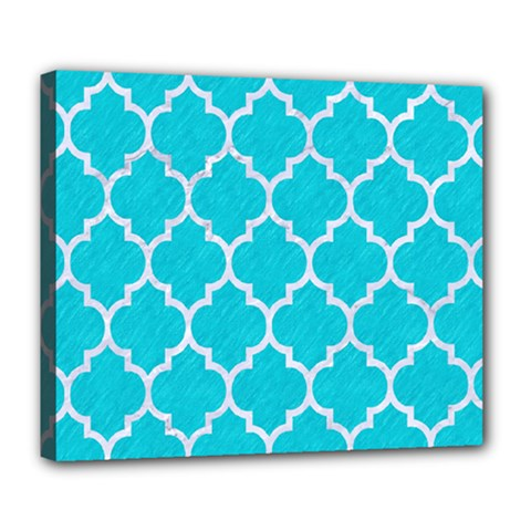 Tile1 White Marble & Turquoise Colored Pencil Deluxe Canvas 24  X 20   by trendistuff