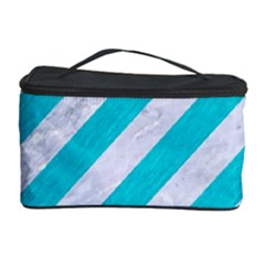 Stripes3 White Marble & Turquoise Colored Pencil (r) Cosmetic Storage Case by trendistuff