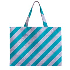 Stripes3 White Marble & Turquoise Colored Pencil (r) Zipper Mini Tote Bag by trendistuff