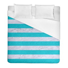 Stripes2white Marble & Turquoise Colored Pencil Duvet Cover (full/ Double Size) by trendistuff