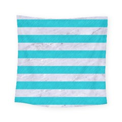 Stripes2white Marble & Turquoise Colored Pencil Square Tapestry (small) by trendistuff