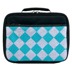 Square2 White Marble & Turquoise Colored Pencil Lunch Bag by trendistuff