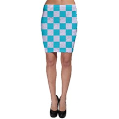 Square1 White Marble & Turquoise Colored Pencil Bodycon Skirt