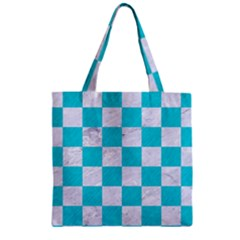 Square1 White Marble & Turquoise Colored Pencil Zipper Grocery Tote Bag by trendistuff