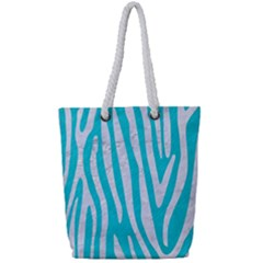 Skin4 White Marble & Turquoise Colored Pencil (r) Full Print Rope Handle Tote (small) by trendistuff
