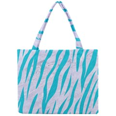 Skin3 White Marble & Turquoise Colored Pencil (r) Mini Tote Bag by trendistuff