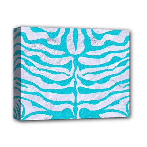 Skin2 White Marble & Turquoise Colored Pencil (r) Deluxe Canvas 14  X 11  by trendistuff
