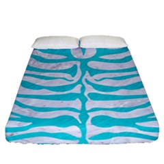Skin2 White Marble & Turquoise Colored Pencil (r) Fitted Sheet (queen Size) by trendistuff
