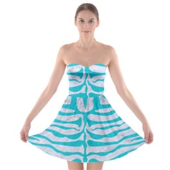 Skin2 White Marble & Turquoise Colored Pencil (r) Strapless Bra Top Dress