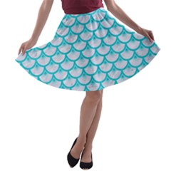 Scales3 White Marble & Turquoise Colored Pencil (r) A Line Skater Skirt