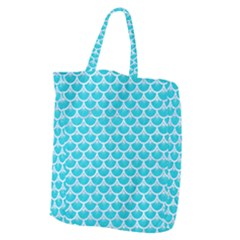 Scales3 White Marble & Turquoise Colored Pencil Giant Grocery Zipper Tote by trendistuff