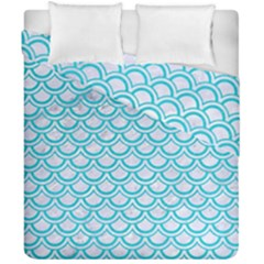 Scales2 White Marble & Turquoise Colored Pencil (r) Duvet Cover Double Side (california King Size) by trendistuff